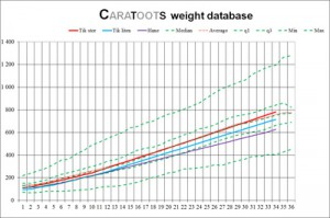 Caratoots weight database